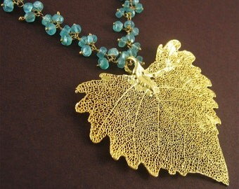 Real Leaf Jewelry Gift for Mom Aurora Necklace Gold Cottonwood Skeleton Leaf with Green Gemstone Necklace