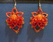 Beaded Chandelier-style Tatted Earrings