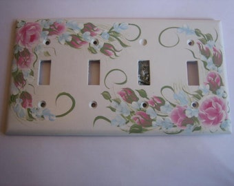 Hand Painted Pink Roses Quadruple or 4 Light Switch Plate