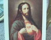 Vintage Sacred Heart of Jesus framed print
