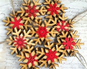 Wholesale wood snowflake Christmas ornaments wedding favours rustic decorations natural wood set of 100