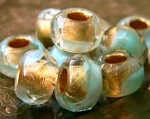 Winter Palace (10) -Czech Glass Large Hole Rondelles 12x8mm