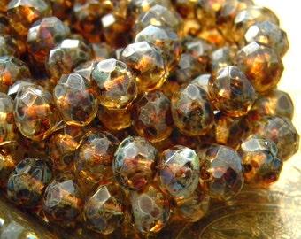 Falling Leaves (10) -Czech Glass Rondelles 8x6mm