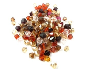 Warm mix of Swarovski Bicone Beads (50X) (S555)
