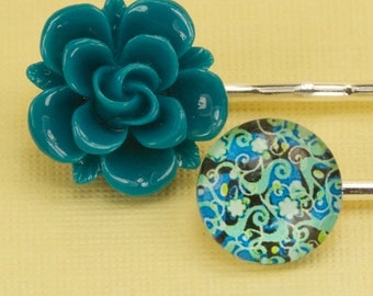 2 Turquoise Flower Hairpins