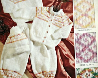 Baby Knitting Patterns Sweater Cardigan Pants Hat Sirdar 3696 Sizes 16 to 24 Inches DK Weight Yarn Vintage Paper Original NOT a PDF