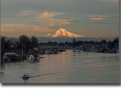 Dusk over Mt.Hood, the Columbia River and House Boats
