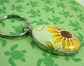 Handmade Clay Embossed Sunflower Key Chain Key Ring makes a great gift or stocking stuffer