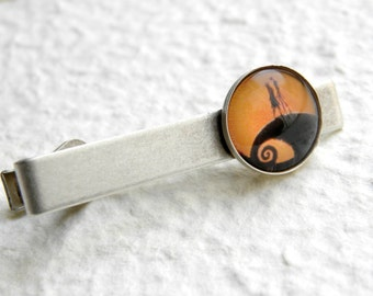 Jack and Sally Tie Clip Tie Bar - inspired by The Nightmare Before Chritsmas - Jack Skellington