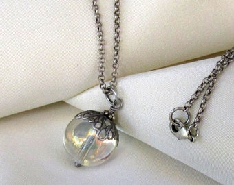 Antique Silver Crystal Ball Pendant, Long Rollo Necklace - Rainbow Glass Orb Mystical Pendant, Boho Necklace, Gypsy Spirit Jewelry