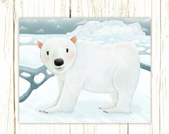 polar bear art print -- Arctic Friends Polar Bear --  bear artwork, nursery, kids art, childrens room art, polar, winter, ice