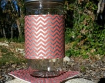 Mason Jar cozy / mason jar sleeve / mason jar cozies - Coral salmon orange and silver chevron - plus matching coaster