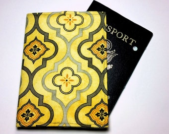 FREE SHIPPING UPGRADE with minimum -  Passport case / passport holder / passport cover : Gothic in Yellow and Gray