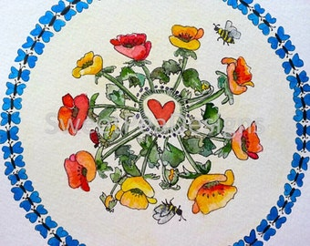 Poppies bees and butterflies mandala watercolor and ink original painting