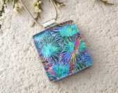 Fused Glass, Dichroic Jewelry, Rainbow Necklace, Fused Glass Jewelry, Glass Jewelry, Dichroic Pendant, Silver Necklace Included,  021315p100