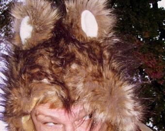 Woodland Spirit Hood Mohawk Hat Furry Tan Spike Brown Bear Hedgehog Mouse Fur Adult Child Kid Winter Ski Geek Hat