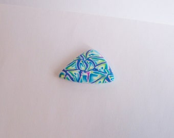 24 x 38 mm handmade freeform triangle shaped stained glass pattern polymer clay cabochon in blue green purple and white
