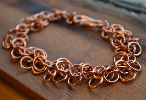 Shaggy Loops Copper Confetti Chain Maille Bracelet - Upcycled Electrical Wire, Chaos Weave