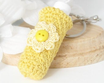 Lip Balm Keychain, Sunshine Yellow Chapstick Cozy Holder for Teen, Womens Keychain
