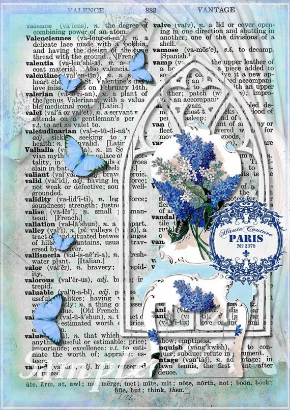 Vintage Dictionary Paris Couture Collage Sheet INSTANT DOWNLOAD Digital Printable