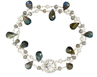 Labradorite, freshwater pearl double strand bracelet, sterling silver, Gifts for Her, Holiday Gifts, Bridal