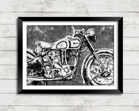Vintage Motorcycle Biker Abstract Distressed Art Print Wall Decor - 11x17 or 13x19 Norton 500 Single