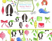 Digital Clipart Hand Drawn Watercolor HOLIDAY THEME 2 Penquins Whale Kitten