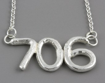 Personalized Sterling Silver Area Code Twig Pendant - Branch Pendant Customized to Your City or Town - Made to Order with Your Area Code
