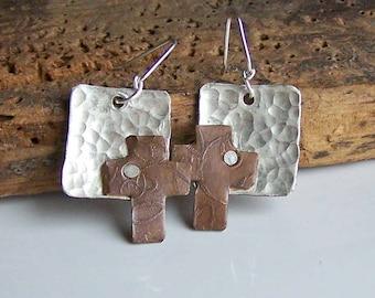 REDUCED Hammered Metalwork Earrings, Riveted Earrings, Cross Earrings, Copper and Silver Filled Earrings, Etched Earrings, Etsy Jewelry