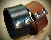 Leather cuff bracelets PAIR Black and Brown Bridle Leather wristband Custom made for You in NYC by Freddie Matara using refined techniques