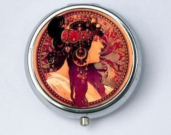 Art Nouveau Donna Orechini PILL CASE pillbox pill holder mucha