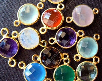 10 pcs 8mm Gold Bezel Gem Stone Connector 2 loops F391 (Choose Your Colors)