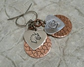 Dragonheart bicolor copper and aluminum layered dragon metal hand stamped gunmetal french hook earrings