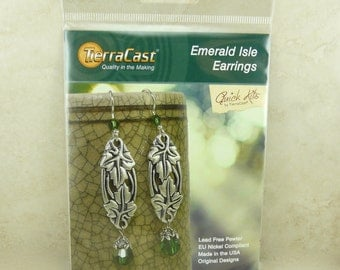 TierraCast Quick Kit Emerald Isle Earrings > Irish St Patricks Day Ivy Leaves Green - American Made Lead Free Pewter I ship Internationally