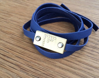 BESTIE Morse code bracelet   etched brass   etched copper   leather wrap bracelet   gift for her