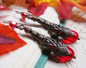 The Vampire's Kiss 2014 -  Iridescent Crimson Halloween Filigree Earrings