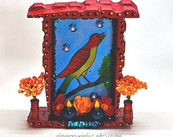 Loteria Bird Pajaro Nicho Day of the Dead Shrine Día del Altar Muerto