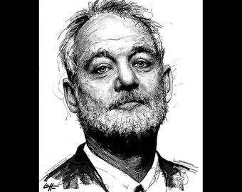 "Print 8x10"" - Bill Murray - Portrait Steve Zissou Ghostbusters Beard Pop Art Rushmore Wes Anderson Comedy Funny Pop Art Lowbrow Abstract"