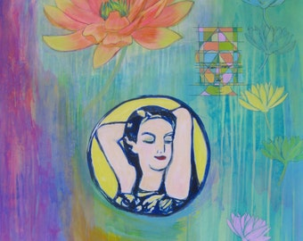 The Exquisite She original abstract spiritual inspirational painting on 140lb watercolor paper