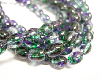 100pc 8x6mm Spray Painted Transparent Glass Bead-3208