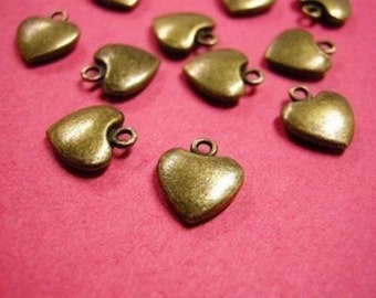 12pc antique bronze lead nickel free heart charm-2141