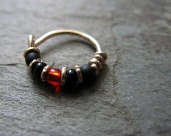 black widow hoop-- superhero nose ring or hoop earring-- handmade by thebeadedlily