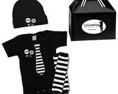 Punk Rock Baby Boy Rockstar Kit black creeper onesie romper hat Bib T-shirt shirt neck tie pins