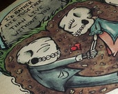 """Day of the Dead  Romantic Skeletons """"Eternal Embrace"""" UnDying Love Print  8x10 Art Print by Agorables Undead 8 x 10"""
