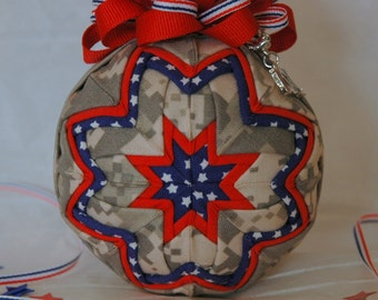 Military Army Digital Camo Fabric Patriotic Red White & Blue Quilted Ornament
