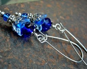 Dainty Blue Firefly Earrings, Silvery Filigree, Faery Couture, Cobalt Blue, Whimsical Flowers, Lightweight Earrings, Elksong Jewelry