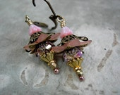 Girlie Pink Flower Drop Earrings, Delicate Colors, Antiqued Brass & Gold, Sparkling Crystal, Cotton Candy, Rose Petal, Elksong Jewelry