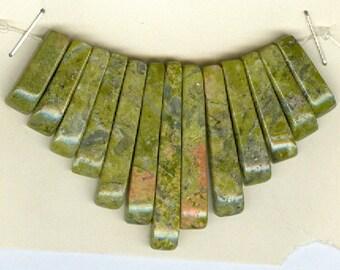 Green and Pink Unakite Mini Cleopatra Collar Fan 13pc Bead Set