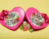 Fat Babe Floral Beaded Sweater Clips - Hot Pink Glitter Hearts