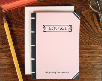 letterpress you & i book cover greeting card epic tale of love and romance pink book lover
